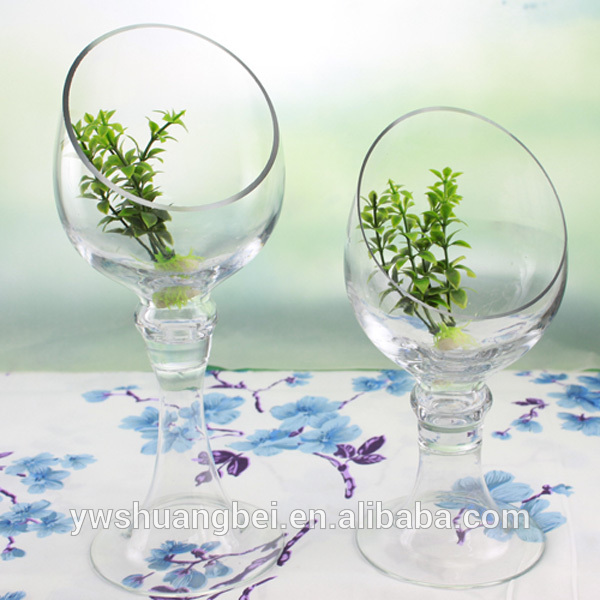 Wholesale Long Stem Cheap Tall Beveled Edge Glass Vase For Hydroponic Plants Long Stem Martini Glass Vase