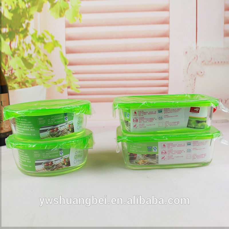 Hot Sale Freshness Gleidhidh Food Container Feart Round / Ceàrnag Glass Lunch Box