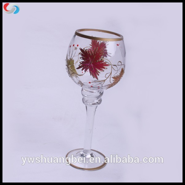 Glass Candle Holder For Wedding Wine Glass Tall Candle Holders