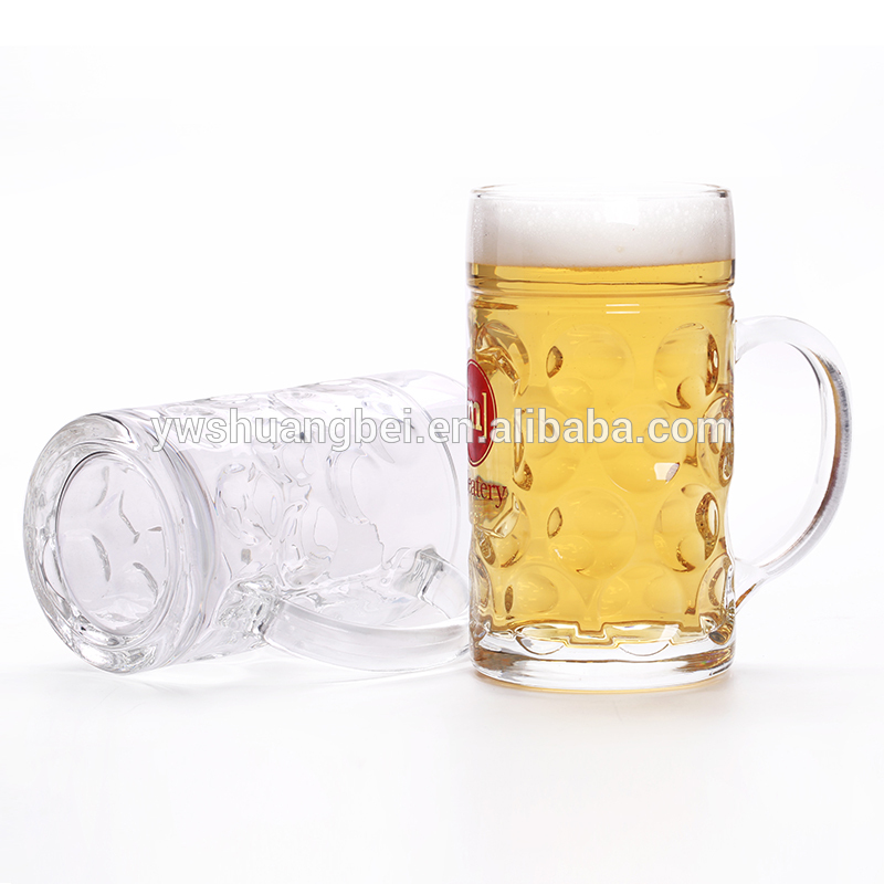 Wholesale new style popular and simple beer glass with high quality. large beer glass cup with handle