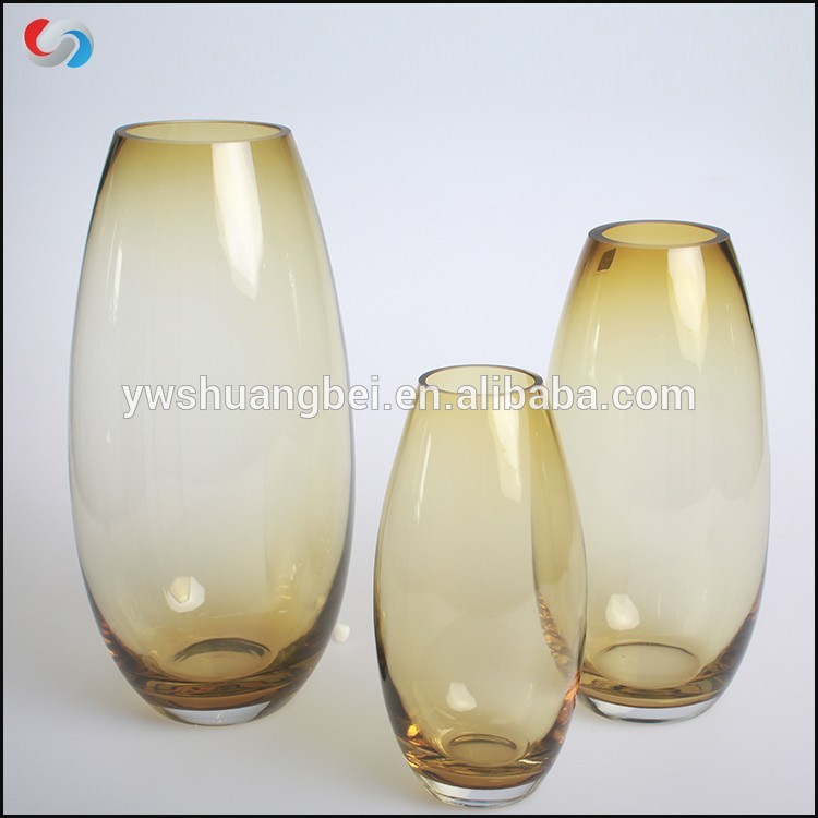 Grosir Murah Dihiasi Gedhe Art Glassware Tall Oval Colored Kuning Bud Kaca vas