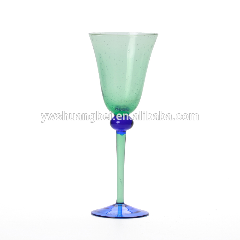 Wholesale handmade long stem and high quality green wine glass
