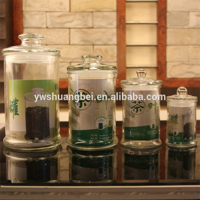 Transparent glass cylinder sealed storage tank , Large glass jar for kitchen