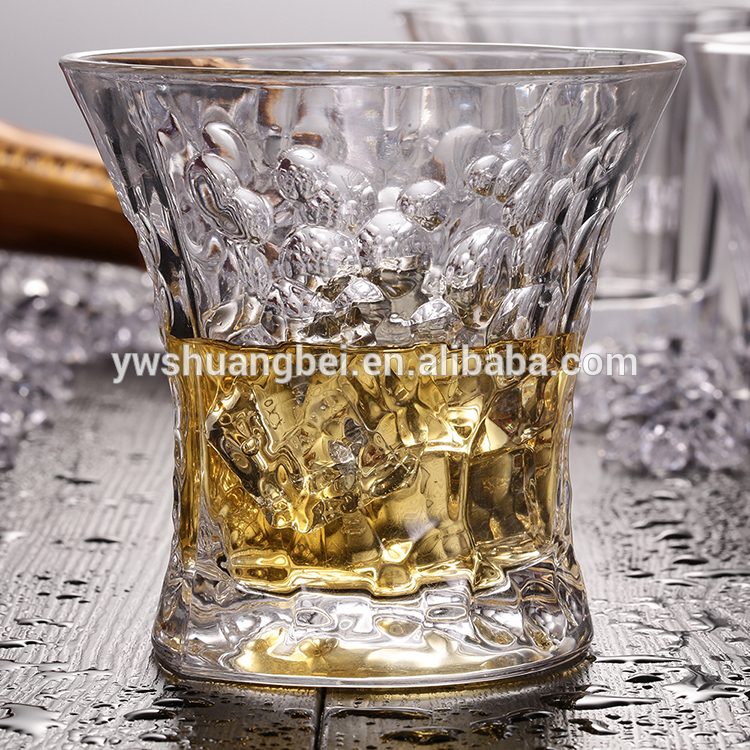 Hot sale unbreakable and embossed pattern whisky glass cup popular in bar