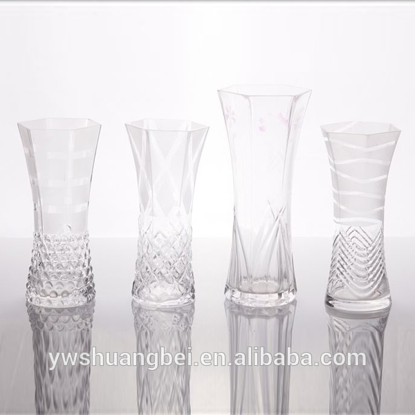 Wholesale Clear Tall Polygon Carved Glass Vase