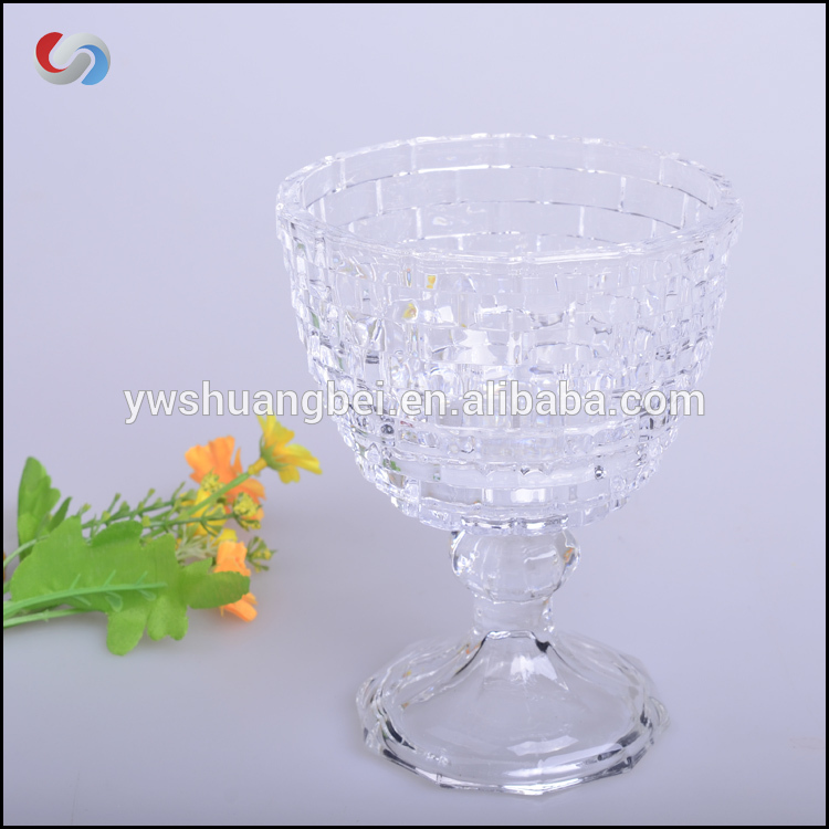 Large Creative Geographical Pedestal Candy Bowl Snacks Decorative Clear Glass Sweet Storage Jar Brick Pedstal