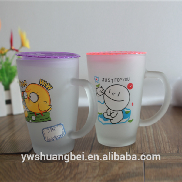 Wholesale Hot Selling Frosted Printing Glass Mug With Handle Milk Glass Mug With Lid Featured Image