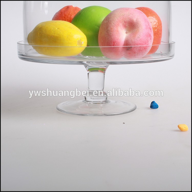 Wholesale China Factory Handmade Clear Glass Pedestal Cake Plate/Butter Plate And Tray With Cover/Lid