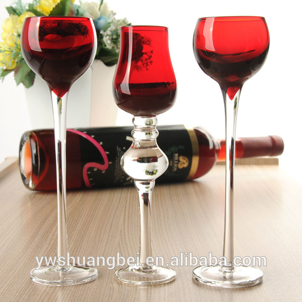 Tall Glass Candle Holders for Home wedding Decoration Colored Long-Stemmed Glass Candle Holder