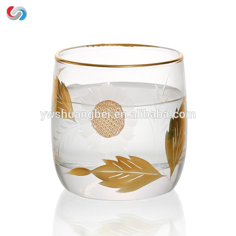 Stemless Golden Line Gold umgjörð Tea Cup / Wine gler- Unique Drekka gleraugu, Drinkware Essentials, Vín Tumbler