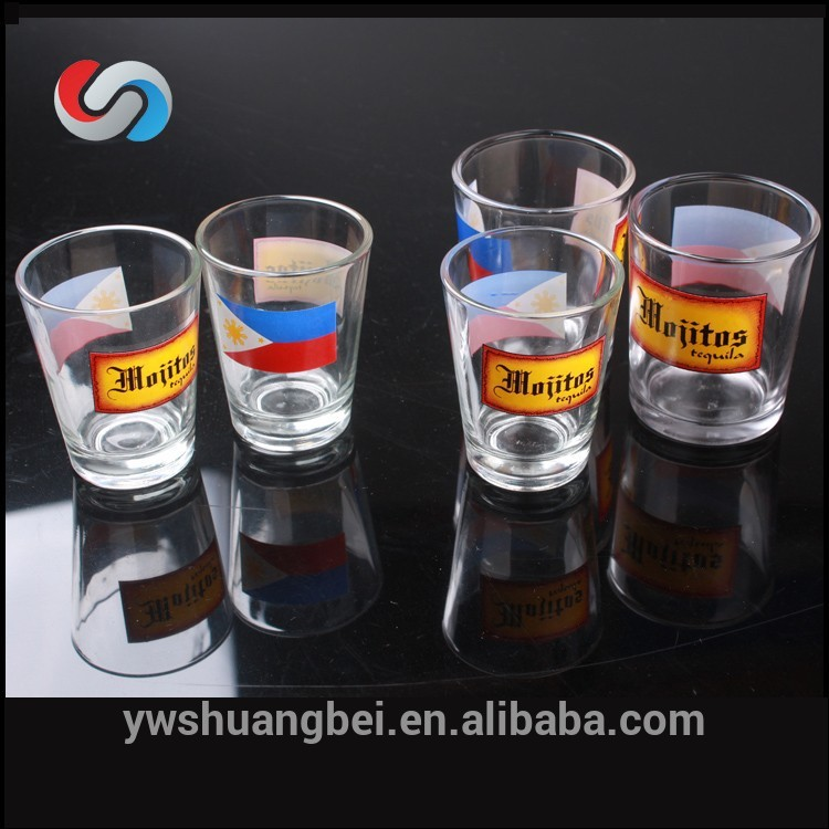 Clear National Flag Printing Different Size Customized Mini Shot Glass Drinking Glass For Promotion Gift Glassware