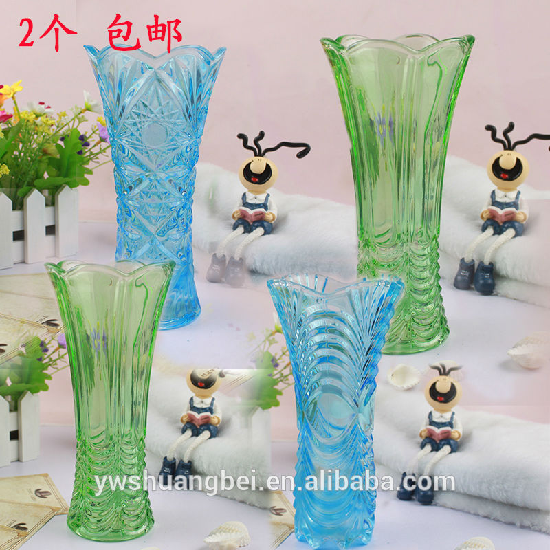 Beautiful Groove ilə Square Rəngli Tall Glass Vase Stained Glass Vase Ucuz Wholesale Glass Vase