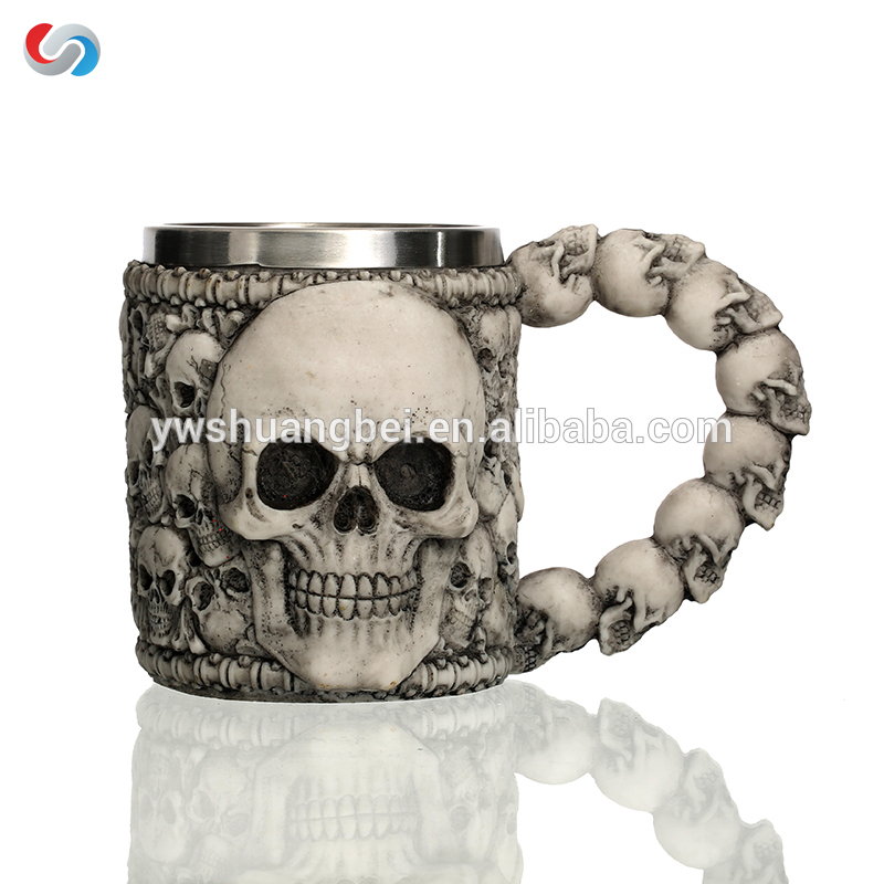 Gothic Coffee Mug Creepy Tankard Cup na may hindi kinakalawang na asero Interior & Resin Panlabas hold 12 Ounces