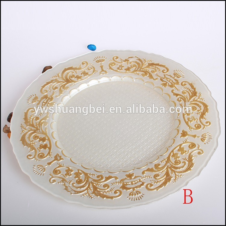 Wholesale Cheap Wedding Decorative Glass Gold Silver Charger Plate