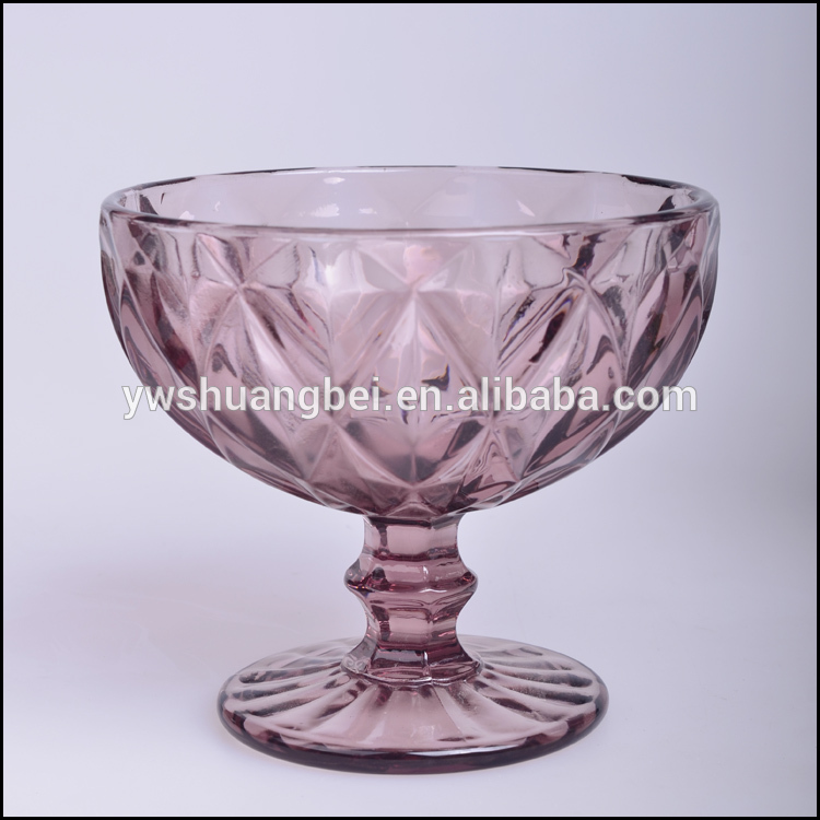 Ice Cream Bowl/Purple Peach Colored Pressed Glass Goblet set good manufacture