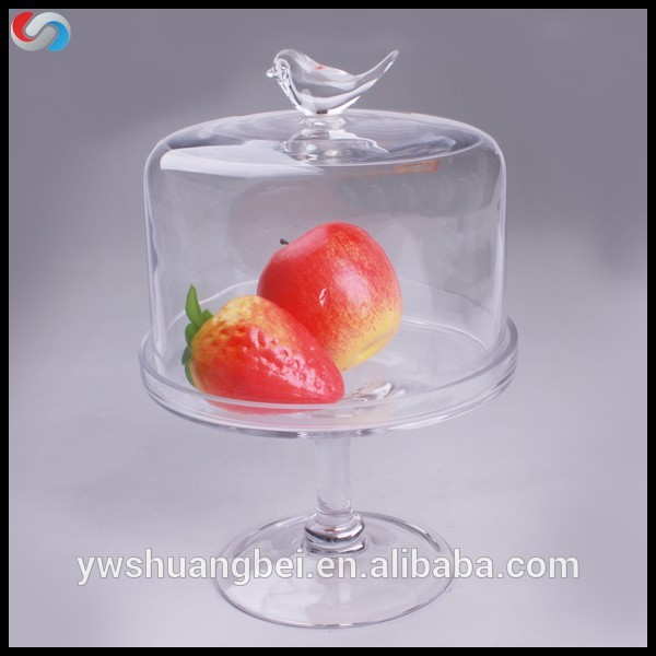Wholesale tableware Glass Cake and fruit Plate Butter Plate with Glass Cover/Lid