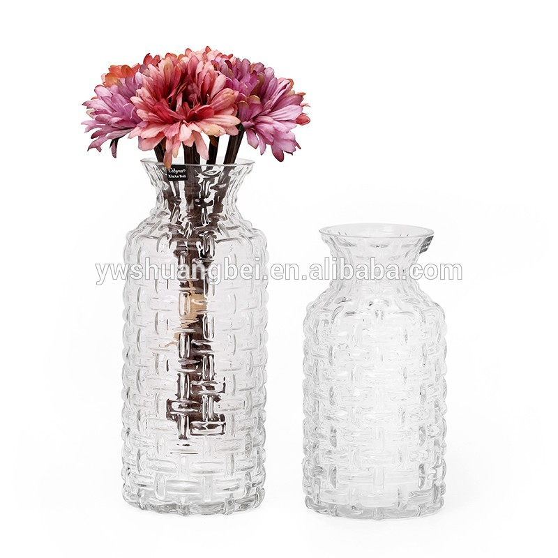 Wholesale Long Wave Narrow Mouth Glass Vase Floral Glass Vase. Ideal for Weddings