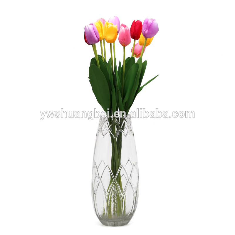 Wholesale cheap and high quality new lotus engraved glass vase for wedding decoration