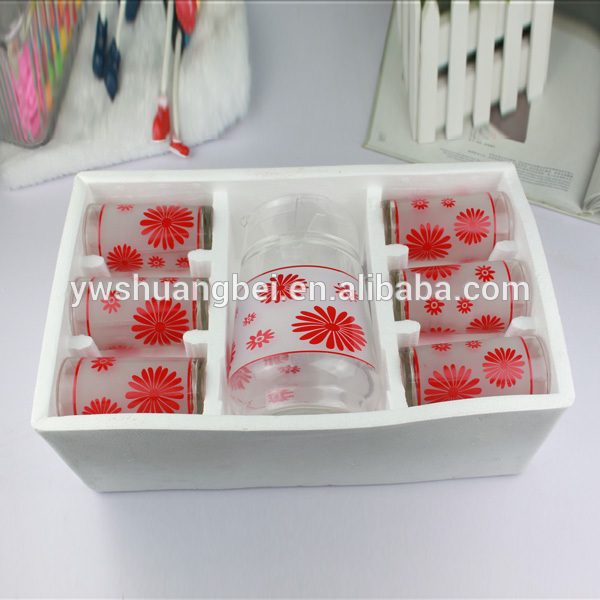 Household goods Printing Cheap Glass Cup Wholesale Drinking 7pcs glass Water cup Jug Set