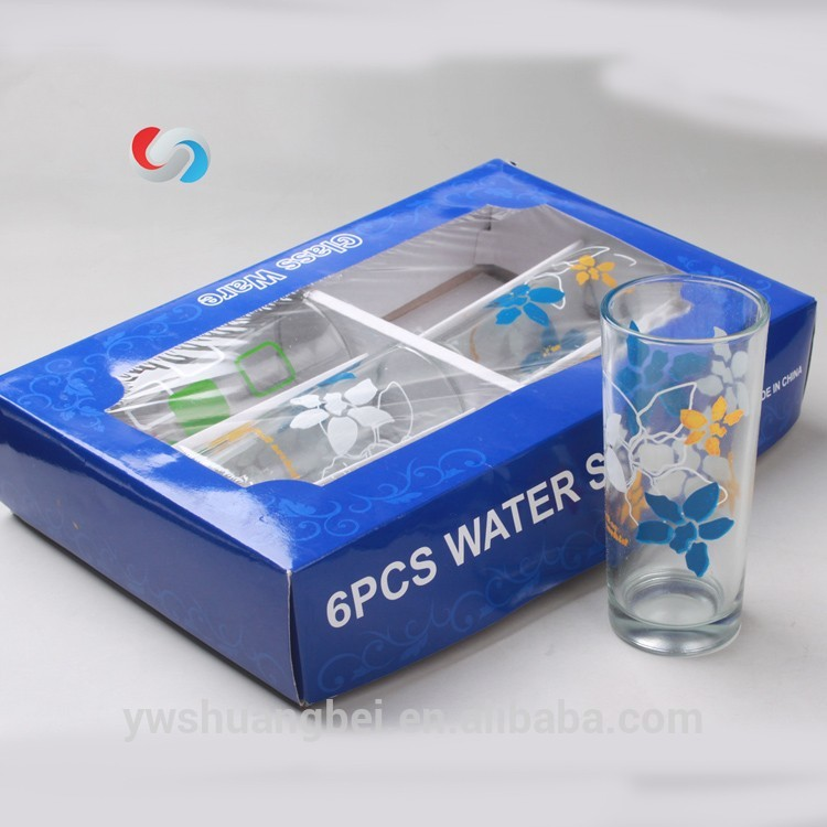 Color Box Juice Glass Clear Water Flower Printing Glass Cup
