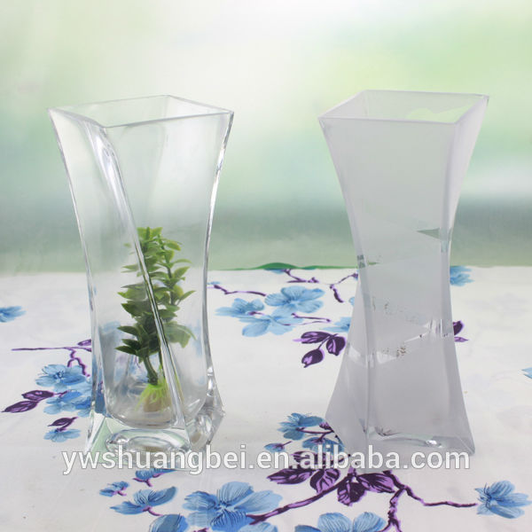 Narrow Neck Clear Crystal Frosted Glass Vase Wholesale