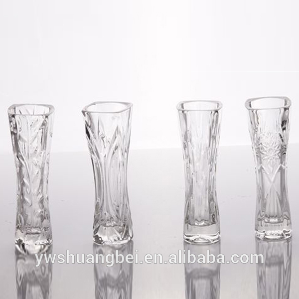 flower printed thick glass vase for wedding decoration