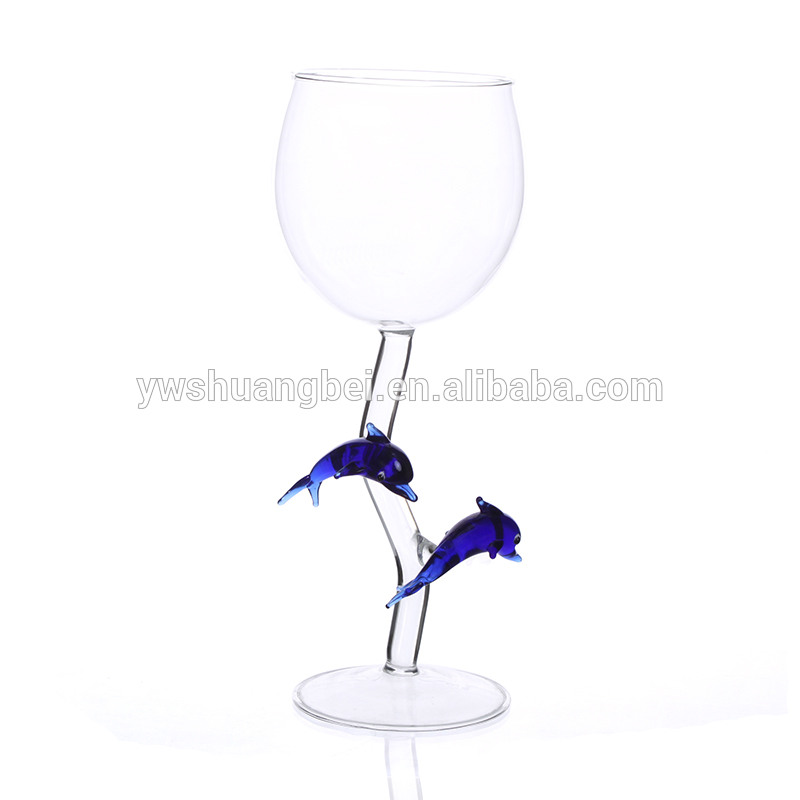 Creative beautiful Wine Glass,The Stem With Blue Dolphins.