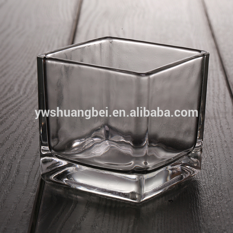 New design and small square mini crystal candle holder for home decoration