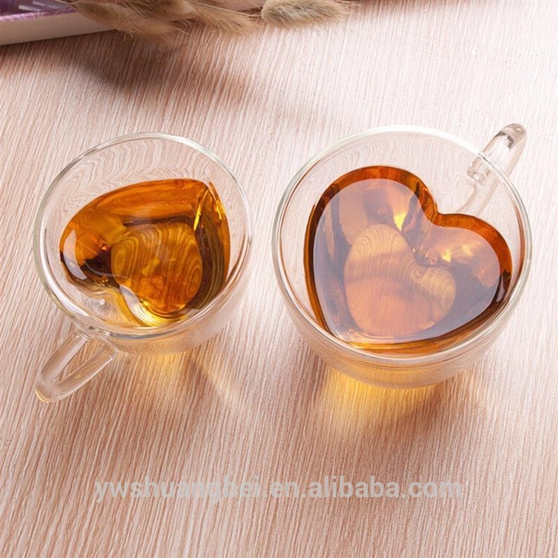 New Arrival 6OZ/8OZ Glass Tea Cup With Handle Heart Shaped Clear Double Wall Lovers Coffee Afternoon Tea Double Layer Glass Mug