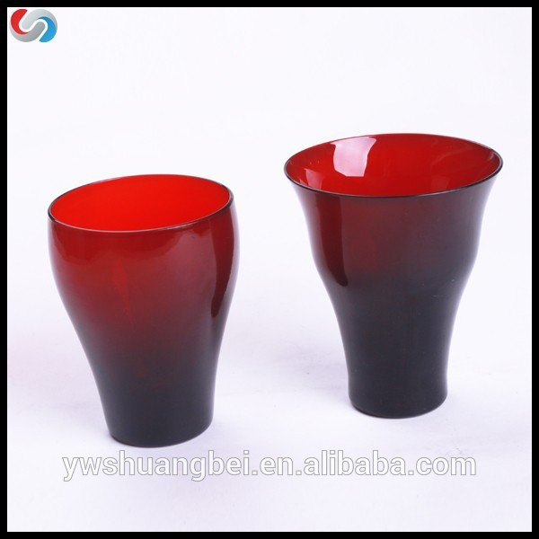 2015 hot red color drinking glassware, glass cup