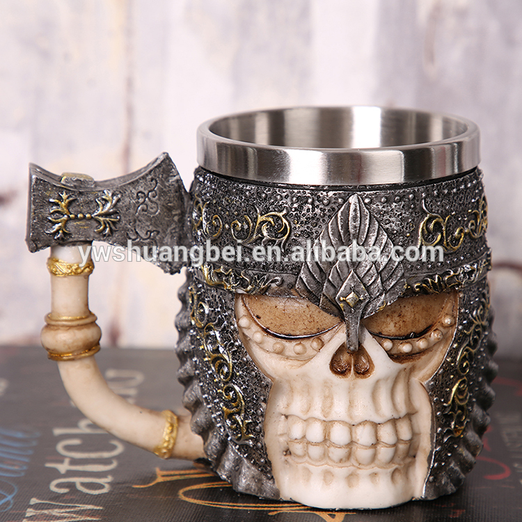 Wholesale factory stainless steel 3D resin pirate skeleton personality