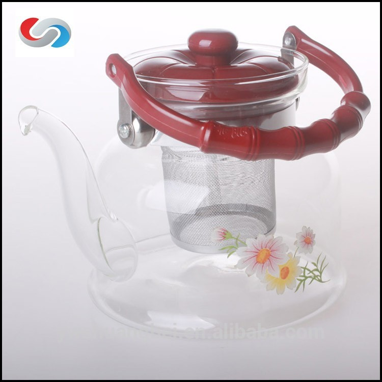 New Design 1000ml Borosilicate Glass Tea Pot With Filter, Glass Pitcher With Tea Strainer