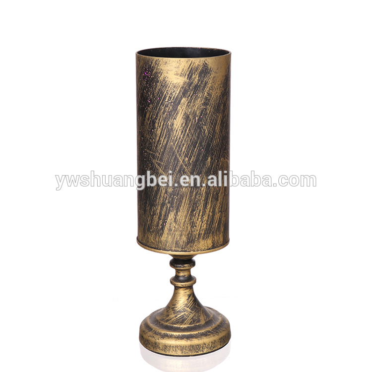 Wholesale special wine shape and ancient gold flower glass vase for home decoration