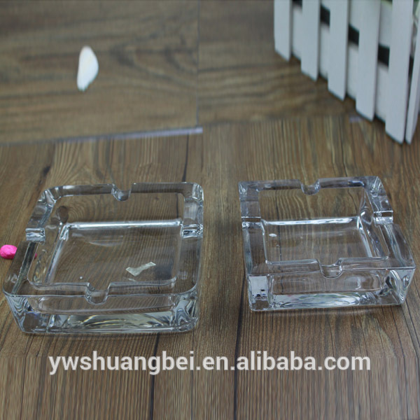 clear square fancy smoking glass ashtray