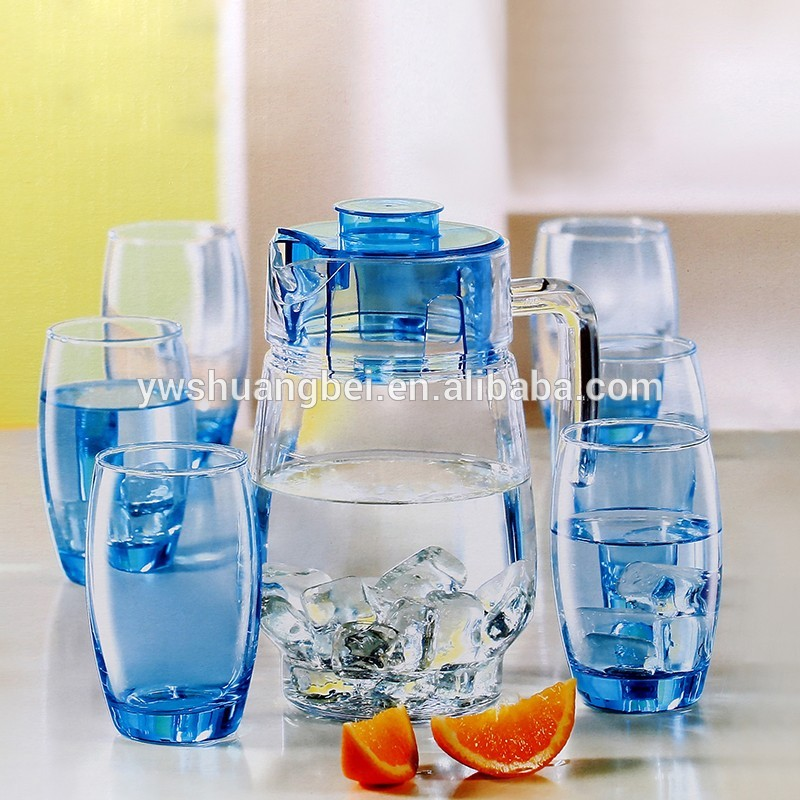 wholesale glass set 1.6L glass jug with 6 350ml cups set for water,juice