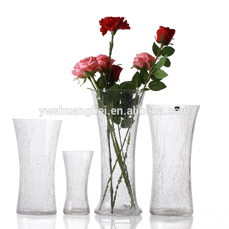 Wholesale cheap tall cylinder clear ice-crack broken-ice crackled glass vase with different size
