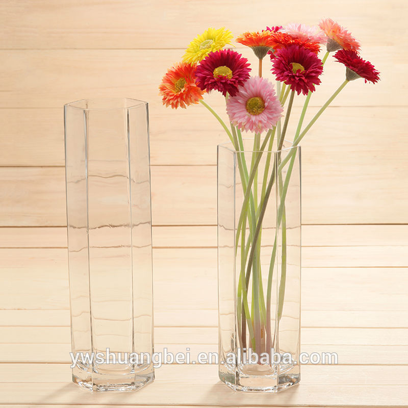 Clear Wholesale Polygon Glass Vasesreversible Trumpet cylinder Glass Vase